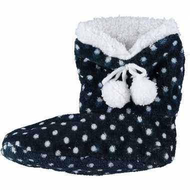 Meisjes hoge sloffen/pantoffels stippenprint blauw maat 34-36