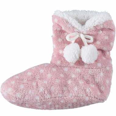 Meisjes hoge sloffen/pantoffels stippenprint roze mt 34-36