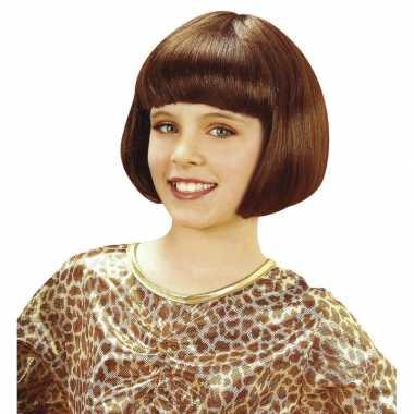 Meisjes kinderpruik met bruin kort haar