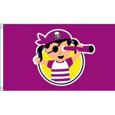 Meisjes piratenvlag 150 x 90 cm