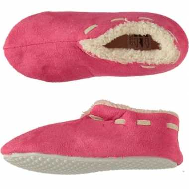 Meisjes spaanse sloffen/pantoffels fuchsia maat 31-32