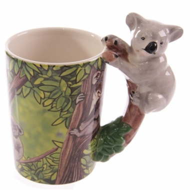 Melk beker koala op boomtak