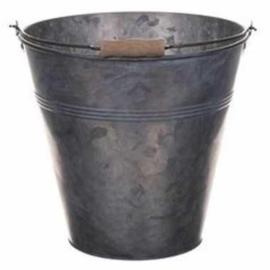 Metalen emmer grijs 7 liter