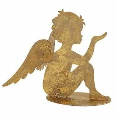 Metalen engel goud glitter zittend 16 cm