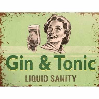 Metalen kroegbordje gin tonic liquid sanity 15 x 20