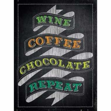 Metalen kroegbordje wine coffee chocolate repeat 30 x 40