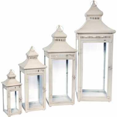 Metalen lantaarn wit 74 cm