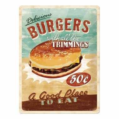 Metalen muurplaat van een hamburger alkmaar