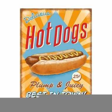 Metalen platen hot dogs