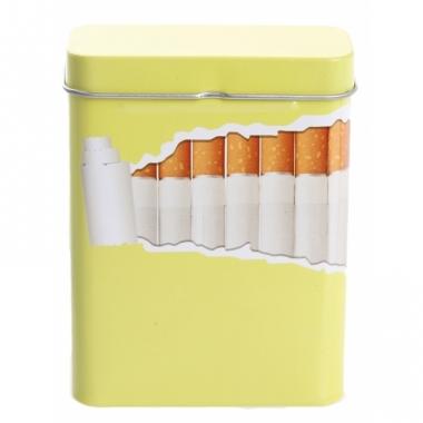 Metalen sigarettenblikje geel / lime