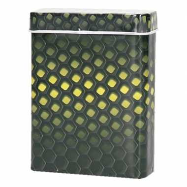 Metalen sigarettenblikje honingraad zwart/geel