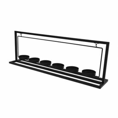Metalen theelichthouder/waxinelichthouder 56 cm voor 6 theelichtjes