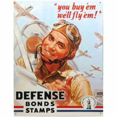 Metalen wandplaat defense bonds stamps