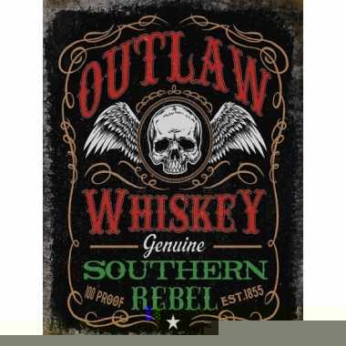Metalen wandplaat whiskey voor in de bar