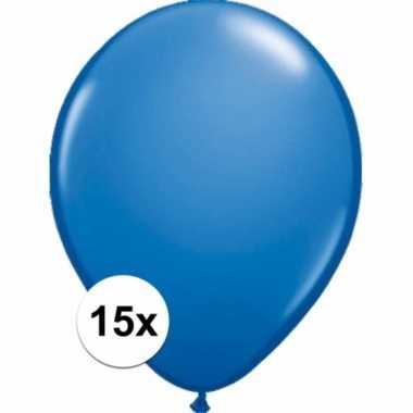 Metallic blauwe decoratie ballonnen 15 stuks