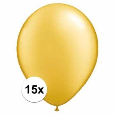 Metallic gouden decoratie ballonnen 15 stuks