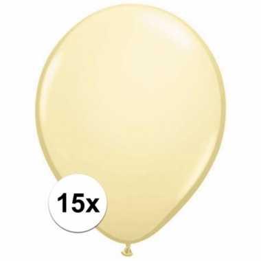 Metallic ivoren decoratie ballonnen 15 stuks