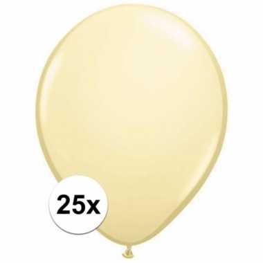 Metallic ivoren decoratie ballonnen 25 stuks