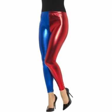 Metallic legging rood/blauw voor dames