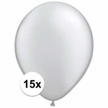 Metallic zilveren decoratie ballonnen 15 stuks