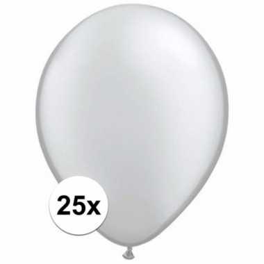 Metallic zilveren decoratie ballonnen 25 stuks