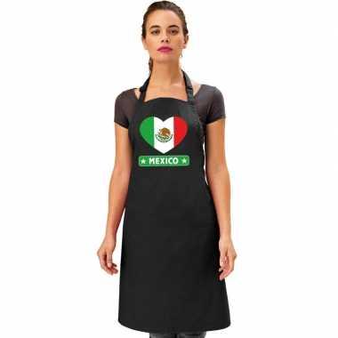 Mexico hart vlag barbecueschort/ keukenschort zwart