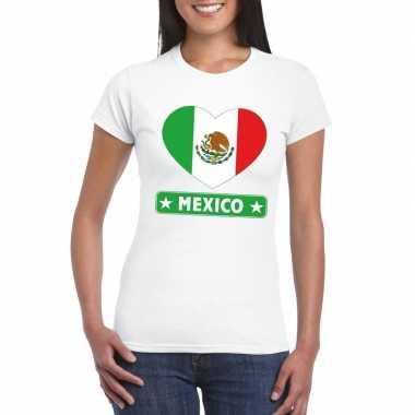 Mexico hart vlag t-shirt wit dames