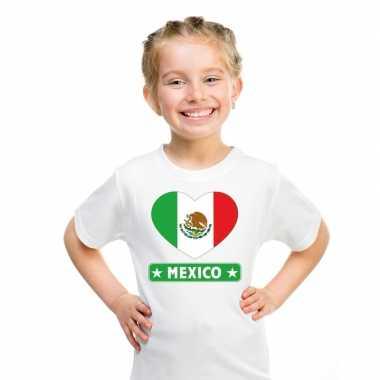 Mexico hart vlag t-shirt wit jongens en meisjes