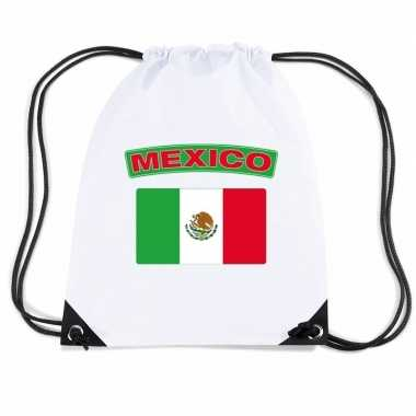 Mexico nylon rugzak wit met mexicaanse vlag