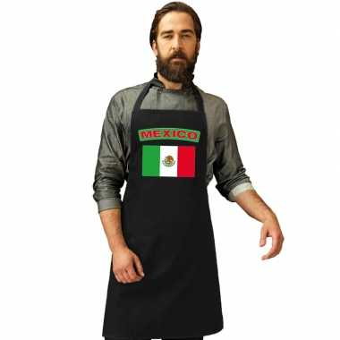 Mexico vlag barbecueschort/ keukenschort zwart volwassenen