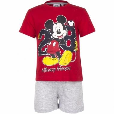 Mickey mouse korte pyjama rood met grijs