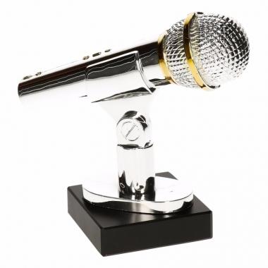 Microfoon trofee zilver 15 cm