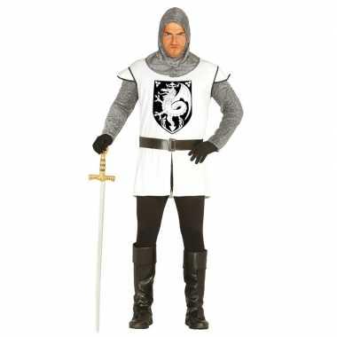 Middeleeuwse ridder verkleed kostuum wit voor heren