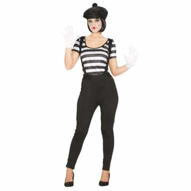Mime speler/clown verkleedkostuum voor dames