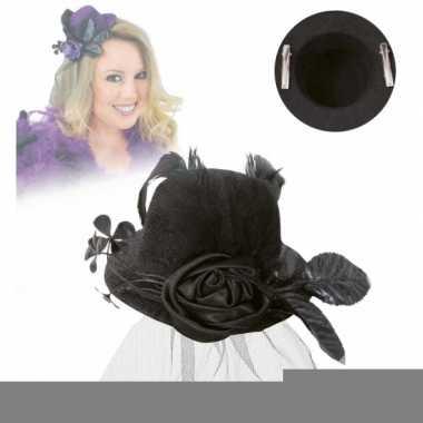 Mini hoed met roos en sluier zwart
