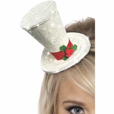 Mini hoge hoed wit op diadeem