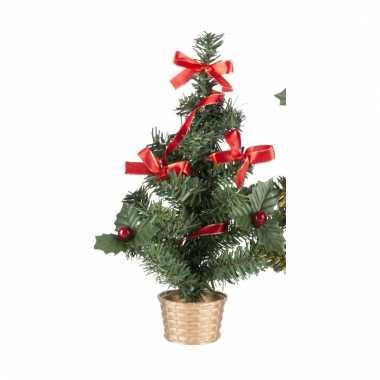 Mini kerstboompje goud met rode versiering 20 cm