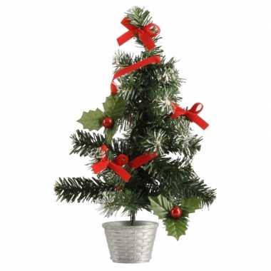 Mini kerstboompje zilver/rood 36 cm