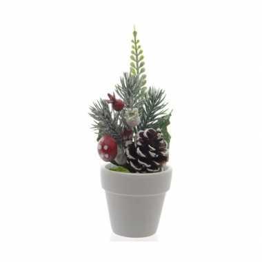 Mini kerststukje met pot 16 cm