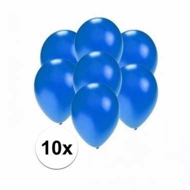 Mini metallic blauwe decoratie ballonnen 10 stuks