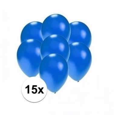 Mini metallic blauwe decoratie ballonnen 15 stuks