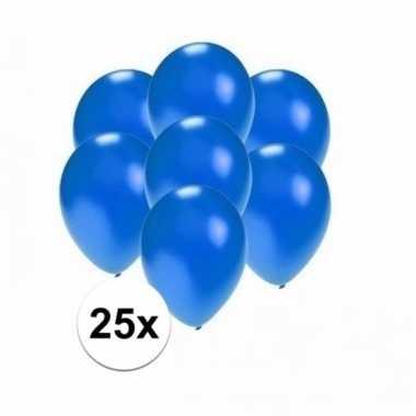 Mini metallic blauwe decoratie ballonnen 25 stuks