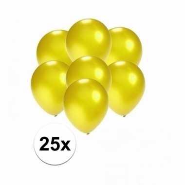 Mini metallic gele decoratie ballonnen 25 stuks