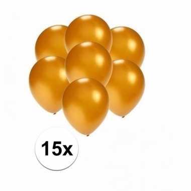 Mini metallic gouden decoratie ballonnen 15 stuks