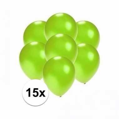 Mini metallic groene decoratie ballonnen 15 stuks