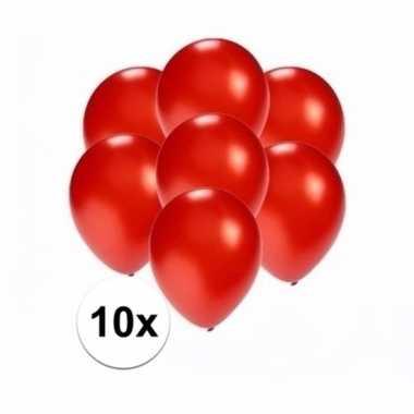 Mini metallic rode decoratie ballonnen 10 stuks