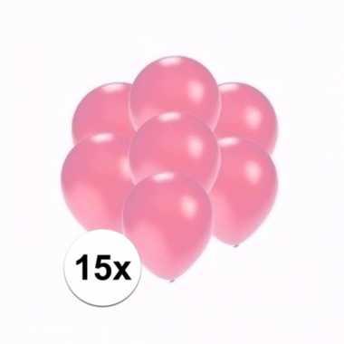 Mini metallic roze decoratie ballonnen 15 stuks