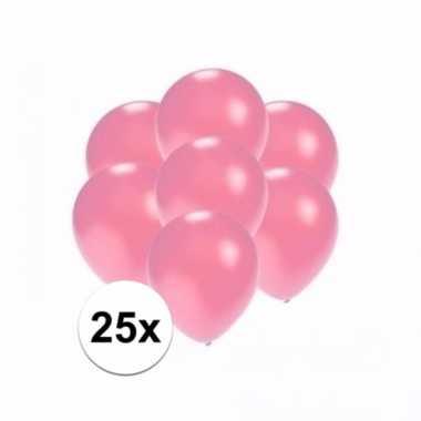 Mini metallic roze decoratie ballonnen 25 stuks