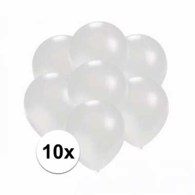 Mini metallic witte decoratie ballonnen 10 stuks