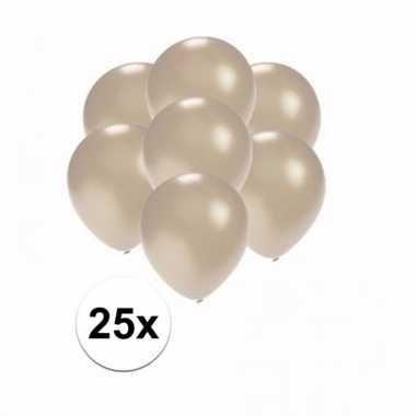 Mini metallic zilveren decoratie ballonnen 25 stuks